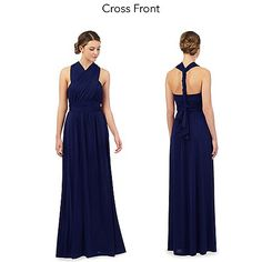Debut Royal blue pleated multiway maxi evening dress- | Debenhams