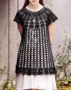 Fabulous Crochet a Little Black Crochet Dress Ideas. Georgeous Crochet a Little Black Crochet Dress Ideas. Crochet Tunic Pattern, Crochet Blouse, Crochet Bodycon Dresses, Lace Summer Dresses, Lace Sweater, Lace Tunic, Lace Dress, Crochet Woman, Crochet Baby
