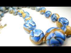 オーブン樹脂粘土を使った青いバラのビーズの作り方 - YouTube