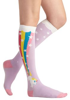 The Power of Magic Socks. Some claim theyve experienced alchemy, but few can say theyve seen unicorns cruising across the sky with the help of rainbow rocket power! #purple #modcloth