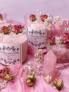Pink Candles, Soy Candles, Glass Jars, Clear Glass, Bella Rose, Natural Candles, Rose Quartz Crystal, Pink Color, Wax