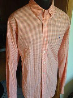 Polo Ralph Lauren Mens Classic Fit Gingham Oxford Shirt L Orange/White NWOT $.99