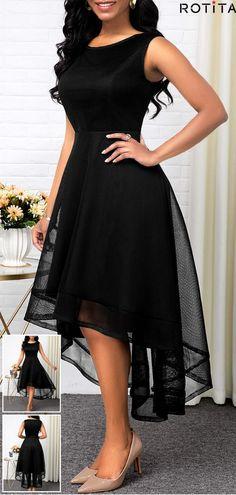High Waist Sleeveless Mesh Patchwork Black Dress Discount For Chri Black Dress Outfits, Cute Outfits, Dress Black, Short Black Dresses, Little Black Dress Classy, Prom Dresses, Xmas Dresses, Formal Dresses, Summer Outfits For Teens