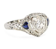Hearts Aflame - Vintage Diamond Ring - The Three Graces