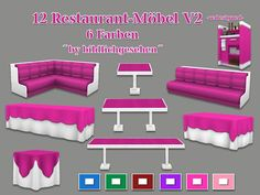 Restaurant Furniture Recolors / Sims 4 Custom Content