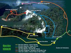 Mapa de las cataratas del Iguazú con ubicación de pasarelas.Nota completa: https://mapa-maps.com.ar/cataratas-del-iguazu-mapas-y-caracteristicas/