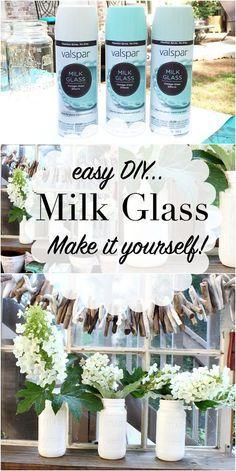 Make your own Milk Glass - use free mason jars and Valspar Milk Glass Paint details at RefreshRestyle.com