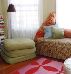DIY floor cushions from an old futon. easy.