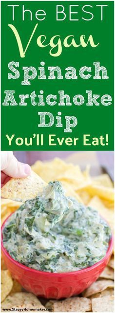 I make this vegan spinach artichoke dip for every special event or party that I go to! Everyone loves it! It's so creamy and flavorful, it's the best spinach artichoke dip I've ever had and I still can't believe it's vegan! Dairy-free, soy-free, gluten-free. Keto Vegan, Vegan Foods, Vegan Snacks, Vegan Dishes, Vegan Gluten Free, Vegan Vegetarian, Healthy Snacks, Vegetarian Recipes, Healthy Recipes