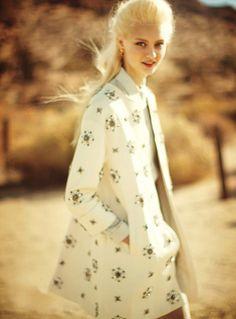 On the Road. Teen Vogue. March 2013. Nastya Kusakina by Boo George. Balmain coat