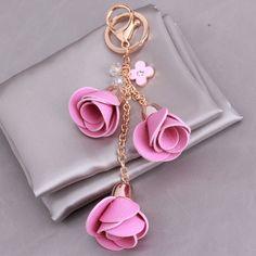 Pink Rose Flower Bag Chunky handbag Key Ring Keychain - Bynmix