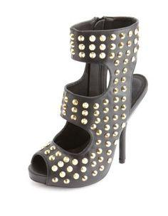 spiked peep-toe cutout heel