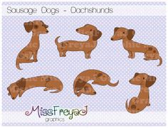 Sausage Dogs / Dachshund / Doxie  Digital Clip Art by MissFreyaJ, $4.00