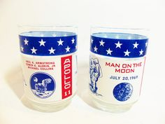 Apollo 11 Man on the Moon Set of 2 Glasses by TheVintagePorch, $13.00