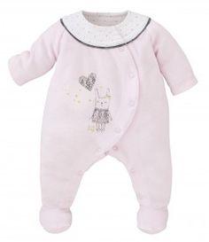 PASTEL PINK VELVET SLEEPSUIT FOR BABY - CLOTHING