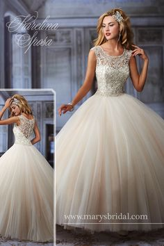 Crystal, Embroidery and French Tulle wedding bridal ball gown with illusion sabrina neckline. Features embroidery embellished with bead bodice and waist detail and chapel train.