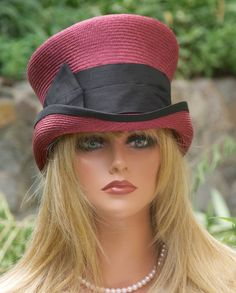 Red Hat Burgundy Top Hat Kentucky Derby hat Red and by AwardDesign
