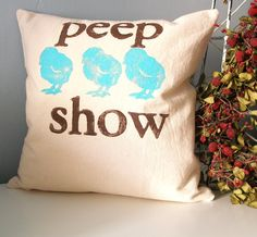 peep show  Hand Stamped Pillow Cover  turquoise and by JoshuaByOak, Love Joshua by Oak!