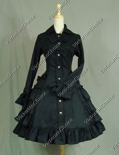 Victorian Gothic Lolita Cosplay Steampunk Coat Dress Reenactment Theatre Costume