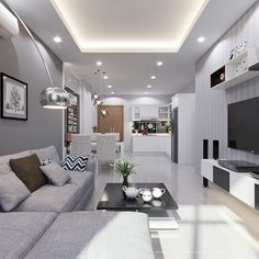 20 Gorgeous Apartment Ceiling Design Ideas That Inspiring Living Room Modern, Living Room Interior, Home Interior, Home Living Room, Interior Design, Living Room And Kitchen Together, House Ceiling Design, Ceiling Design Living Room, Living Room Designs