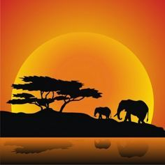African animals of elephants and tree silhouettes with sunset ...