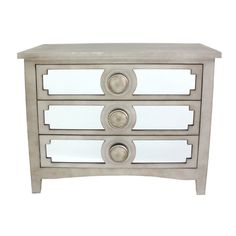 3-Drawer Champagne Mirror Cabinet with Round Knobs