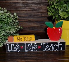 Personalized Teacher Name Plate Gift Personalized by BlocksOfLove1, $12.99