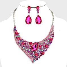 Beautiful Bridal/Prom SILVER & HOT PINK Rhinestone Costume Necklace/Earring Set