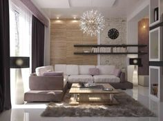Elegant Unique Clock for Home Interior Design Ideas: Elegant Living Room Design With Clock On The Art Stone Wall Beside Bookcase Ideas Including Lamp Standing In The Near And Wooden Table On The Gray Furry Rug And Art Hang On Ceiling ~ justsoakit.com Interior design Inspiration