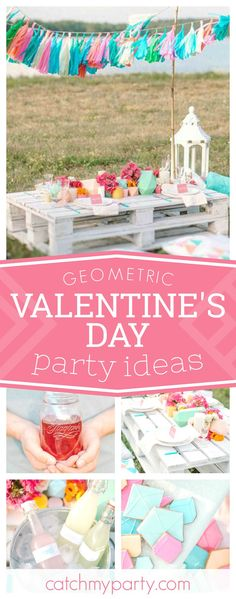 Fall in love with this modern geometric Valentine's Day. Love the cookies!! See more party ideas and share yours at CatchMyParty.com