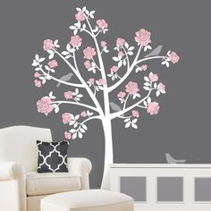 Tree Wall Decals - Chinoiserie Flower Tree - Girl Nursery - Removable Sticker Wall Mural