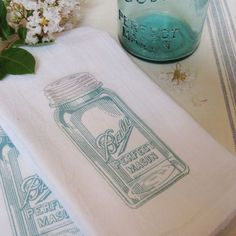 Canning jar graphic printed kitchen towels