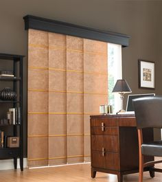 Fabulous Black Flat Panel Valance Over Blinds Covering Spacious Window Design At Home Office With Luxury Furniture Design Ideas. Decorative Valance Over Blinds Design For Beautiful Windows Treatment Ideas Patio Door Coverings, Sliding Door Curtains, Patio Door Curtains, Sliding Patio Doors, Curtains With Blinds, Sliding Glass Door, Window Coverings, Glass Doors, Curtain Panels