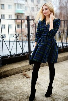 I love this tartan plaid dress with the black tights and heels!