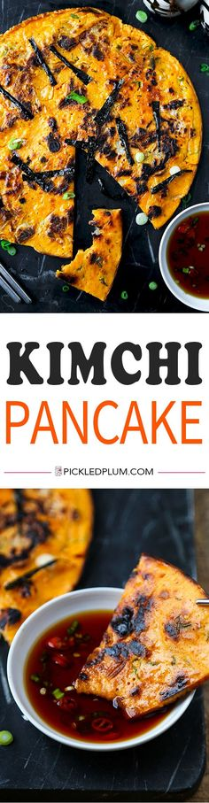 Kimchi Pancake (Kimchijeon) - Fall in love with this super savory kimchi pancake served with a fiery soy dipping sauce. It's the ultimate Korean snack, like nothing you've ever tasted! Recipe, crepe, pancake, Asian, Korean, dinner, snack | pickledplum.com
