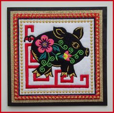Handmade, machine embroidered, Chinese Zodiac, year of the pig, fabric art card, greeting card, black embossed card, measures 6in x 6in. by CushionRock on Etsy