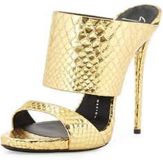 Giuseppe Zanotti Snake-Embossed Sandal Slide featuring polyvore, fashion, shoes, sandals, gold, leather slip-on shoes, metallic strappy sandals, strappy sandals, strappy leather sandals and slip on shoes