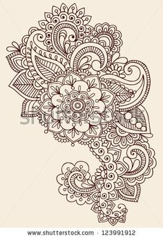 stock vector : Henna Paisley Flowers Mehndi Tattoo Doodles Design- Abstract Floral Illustration Design Elements