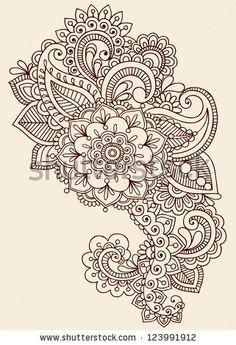 Henna Paisley Flowers Mehndi Tattoo Doodles Design- Abstract Floral Illustration Design Elements - stock vector