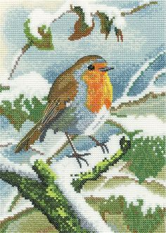 winter Chaffinch and berry Chaffinch Fabric Cushion Craft Panel