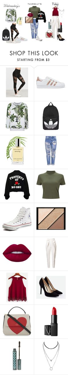 """wed thu fri"" by kennedylcoleman on Polyvore featuring adidas Originals, Topshop, Miss Selfridge, Converse, Elizabeth Arden, Lime Crime, Delpozo, JustFab, Kate Spade and NARS Cosmetics"