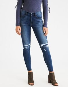 American Eagle Outfitters AE Denim X Hi-Rise Jegging <love distressed denim but would be to OCD about it ripping more.