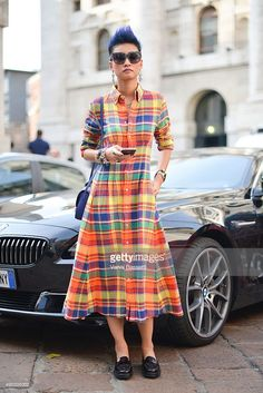 Esther Quek poses wearing a Ralph Lauren dress before the Salvatore Ferragamo show during the Milan Fashion Week Spring/Summer 16 on September 27, 2015 in Milan, Italy. Frock Fashion, Plaid Fashion, Fashion Outfits, Milan Fashion, Women's Fashion, Dress Neck Designs, Kurti Neck Designs, Kurtha Designs, Churidar Designs