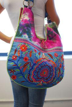 Bohemian Embroidery and Flower Print Deco Hobo Bag