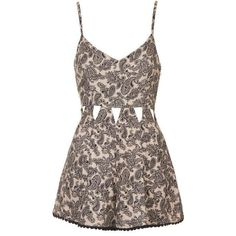 TopShop Paisley Cut-Out Playsuit ($52) ❤ liked on Polyvore featuring jumpsuits, rompers, dresses, topshop, cutout romper, topshop rompers, playsuit romper and cut out romper