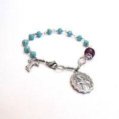 Saint Francis of Assisi - Saint Clare Rosary, Amethyst bracelet, St Francis chaplet, Tau cross bracelet, crystal bracelet, Catholic jewelry