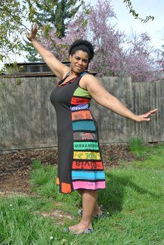 Black and Wide Stripe Curve Dress by kendragrace on Etsy