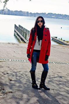 OOTD Red Duffle Coat with Leather Boots