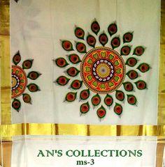 Dress Painting, T Shirt Painting, Fabric Painting, Fabric Art, Paint Fabric, Saree Painting Designs, Fabric Paint Designs, Fabric Design, Kerala Mural Painting