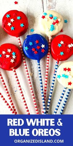 These Red White and Blue Oreos are one of those short-cut dessert recipesthat is perfect for the upcoming holiday. We like to call this 4thof July Oreos because they are not only patriotic in color, but they looks so festive on a stick.